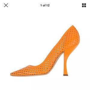 Casadei Orange Leather Pump Shoes 6.5 US / 36.5 EU